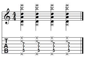 Ejercicio sobre power chords para controlar varias cuerdas