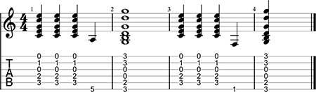 conectar los acordes usando los bajos