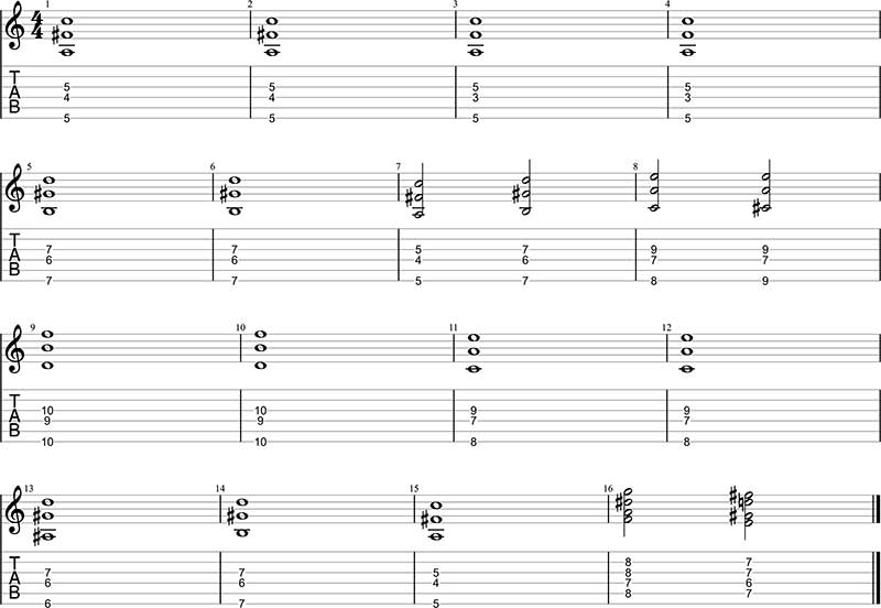 Minor swing voicings
