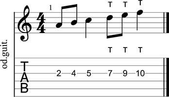 Figura de seis notas en tapping