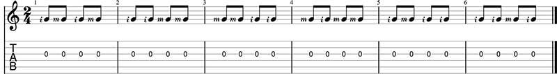paradiddle aplicado a la guitarra
