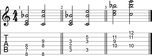 Voicing para acordes 7 usando tonos guía