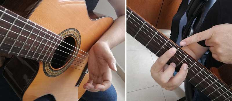Posición mano y dedos guitarra