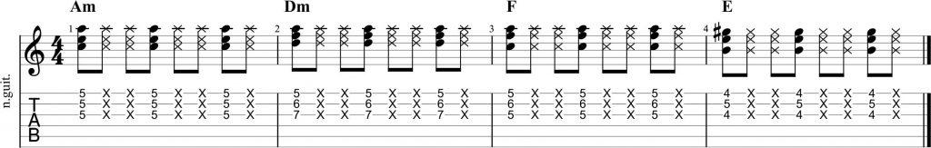 Ejercicio de guitarra funk