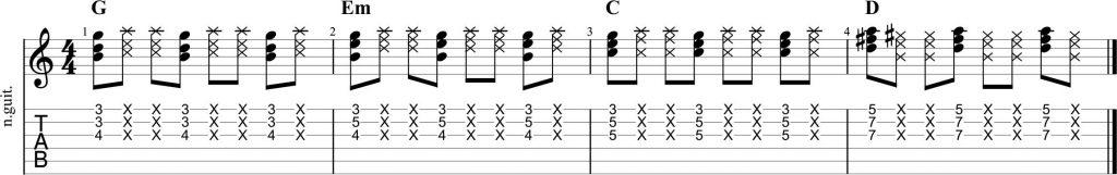 Guitarra funk acordes e inversiones
